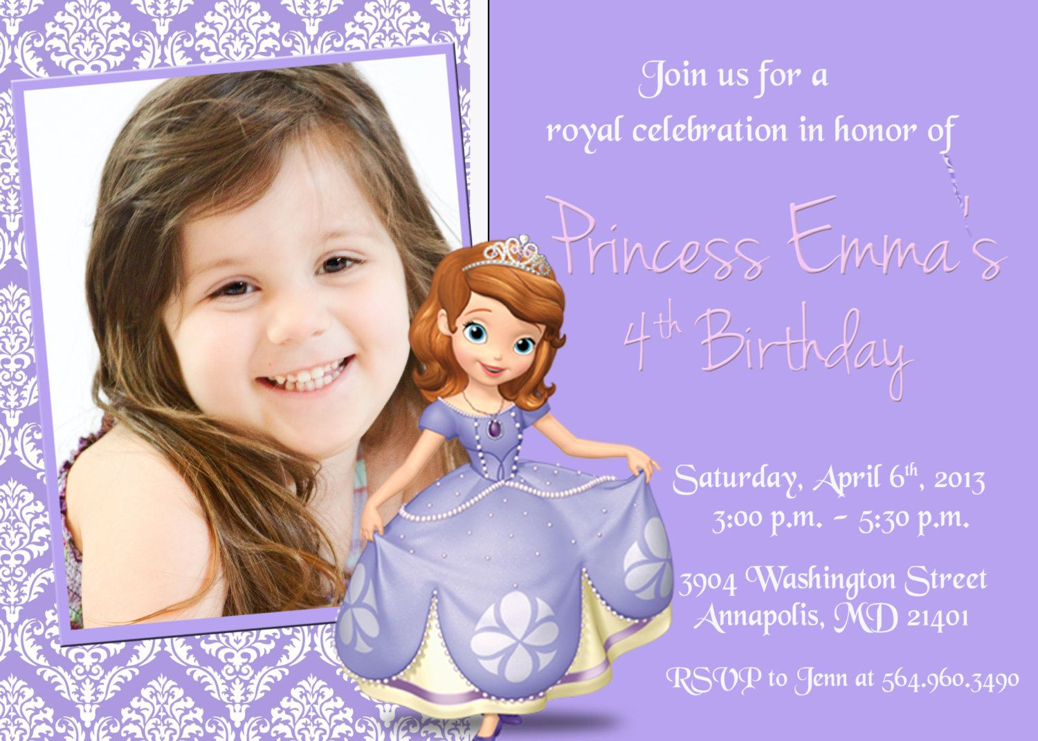 Sofia the First Birthday Party Invitation by KidsPartyPrints, $8.99 ...