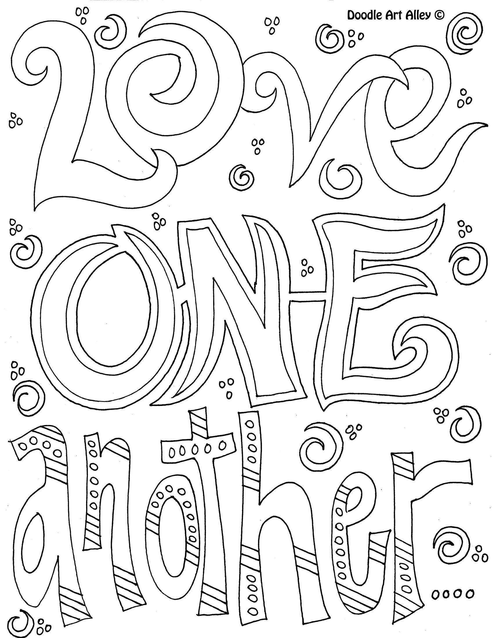 Doodle Coloring Page Love One Another Bible Coloring Pages Quote Coloring Pages Love Coloring Pages