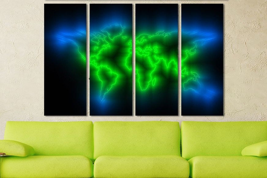World Map For Walls Big Art Canvas Extra Large Canvas Panels World - Extra large framed world map