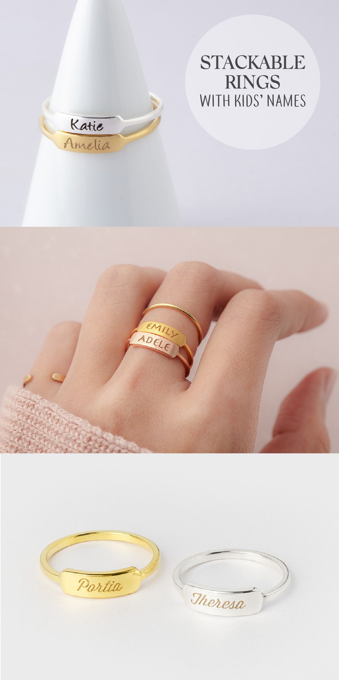 Stacking Mothers Ring Children S Names Ring Mom And Baby Ring Mother And Child Ring Kids Na Womens Engagement Rings Mothers Ring Stackable Mother Rings