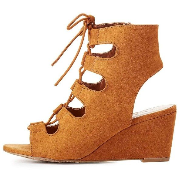 988a759a50c Bamboo Lace-Up Slingback Wedge Sandals ( 25) ❤ liked on Polyvore featuring  shoes