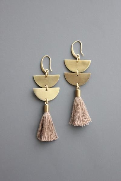 451785d35fab09 18k gold plated brass hook earrings with brass and taupe cotton tassels.  Women's Jewelry,