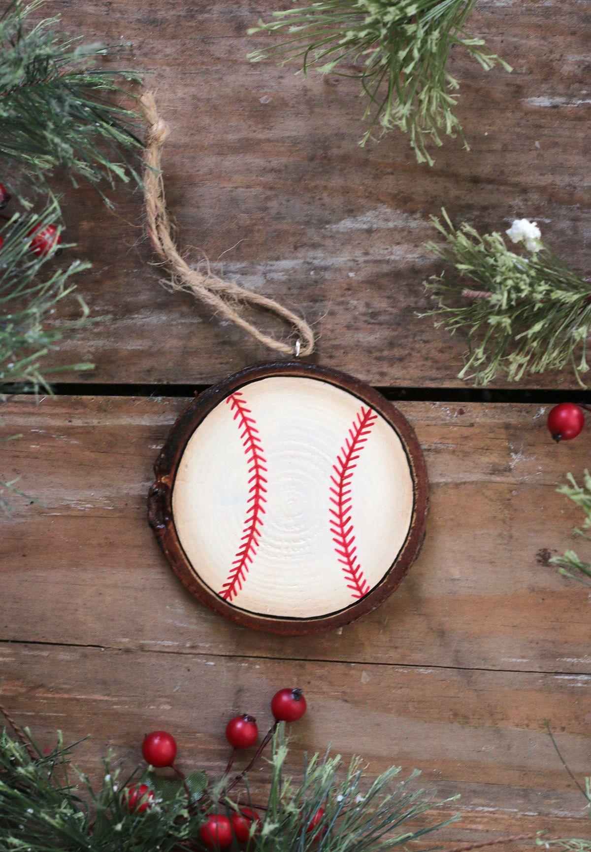 Personalized Baseball Ornament Custom Sports Team Gift Hand Painted Wood Slice Baseball Ornaments Baseball Christmas Ornaments Wood Slice Ornament