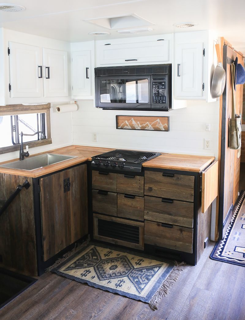 Diy Reclaimed Wood Kitchen Cabinets Kitchen Design Kitchen Remodel Camper Kitchen
