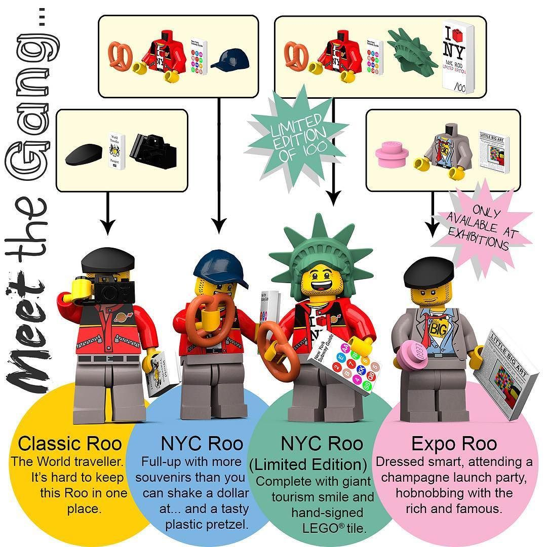 MEET THE GANG... - Classic Roo : The World traveller. It's hard to keep this Roo in one place. - NYC Roo : Full-up with more souvenirs than you can shake a dollar at... And a tasty plastic pretzel. - NYC Roo (Limited Edition) : Complete with giant smile and hand-signed LEGO tile. - Expo Roo : Dressed smart attending a champagne launch party hobnobbing with the rich and famous. . Available now at www.littlebigart.eu . #LittleBigArt #LEGO #art #minifigures #ModernArt #LEGOart #afol…