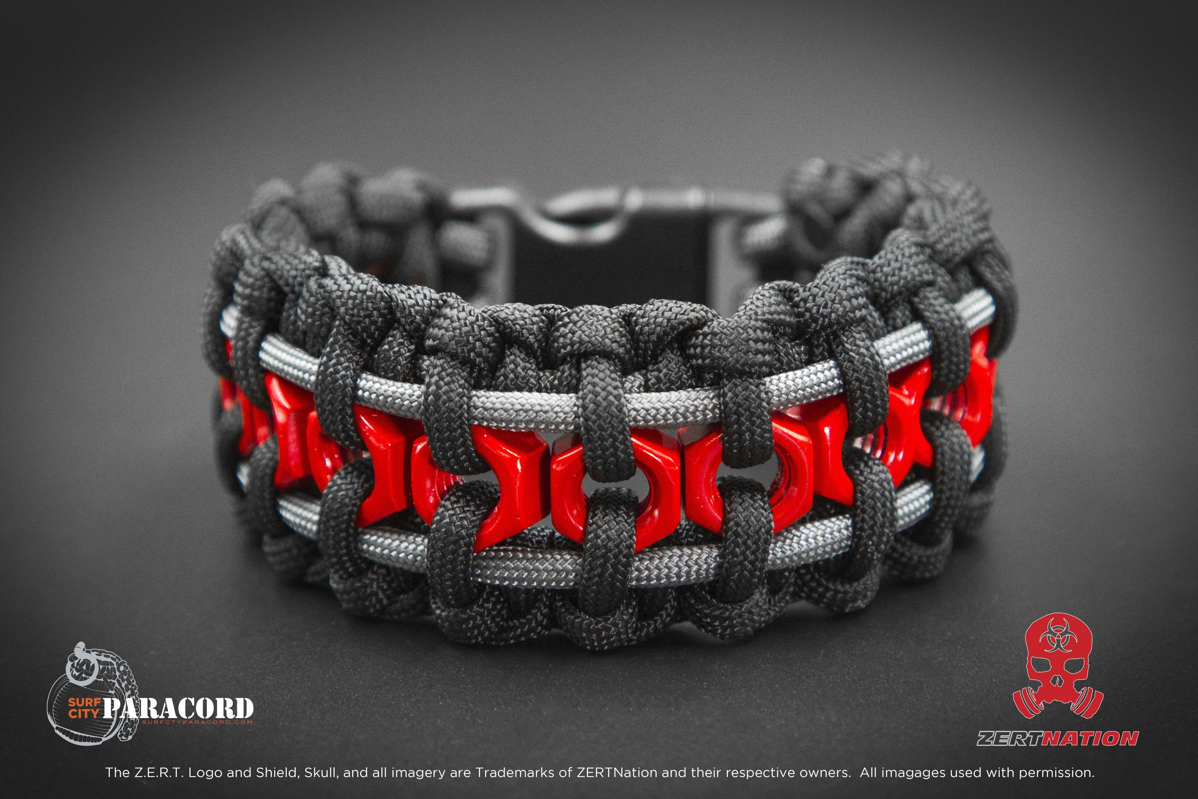 Z E R T Hex Nut Paracord Bracelet Black Red And Grey
