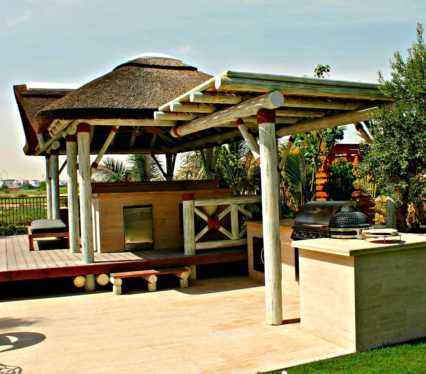 Outdoor Kitchen With Thatched Gazebo Outdoor In 2019: Modern Thatched Gazebo With Pergola, Outdoor Kitchen And
