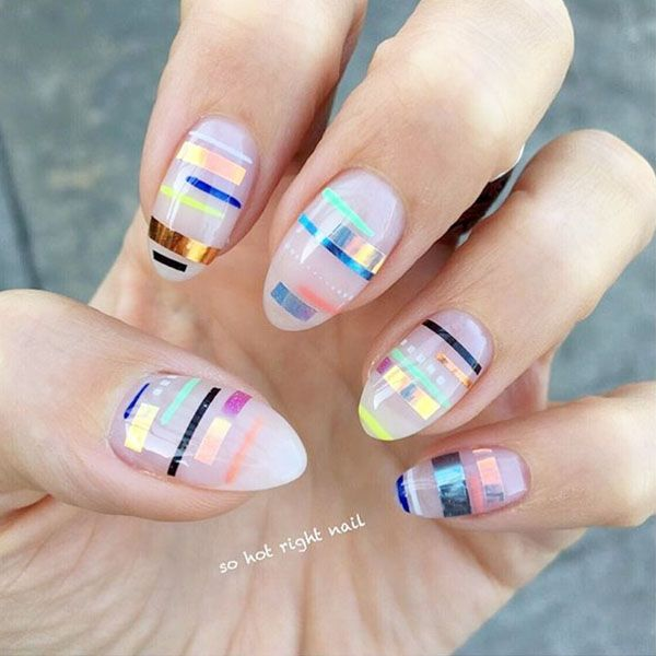 8 Easy Summer Nail Designs to Try This Weekend | Tape nails ...