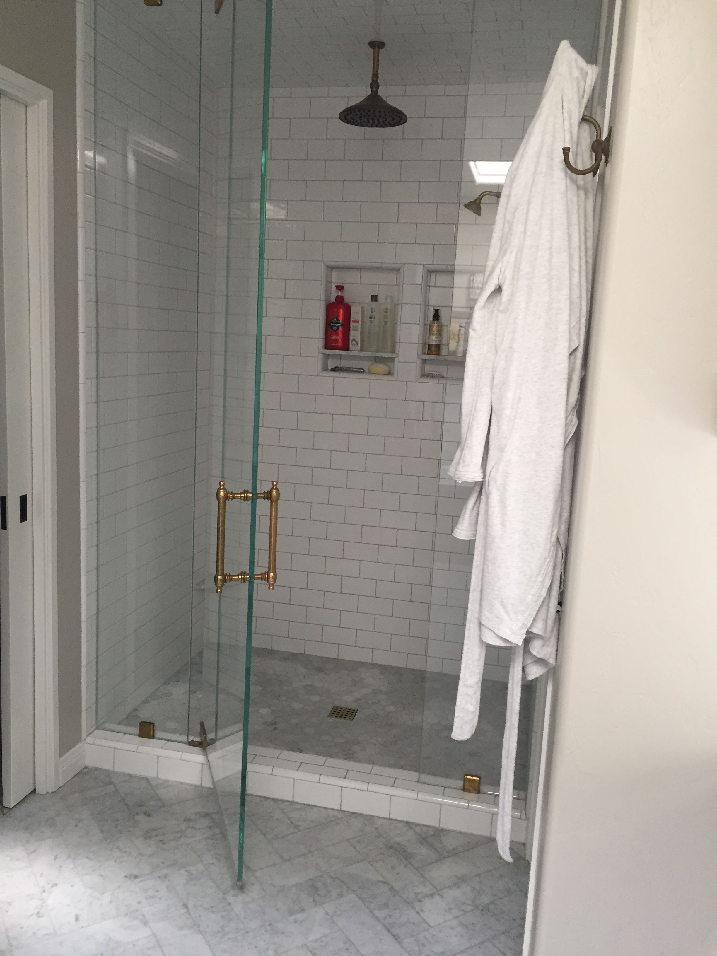 Gorgeous Carrara Marble And Subway Tile Bathroom With Gold Accents Subway Tiles Bathroom Tile Bathroom Marble Subway Tiles