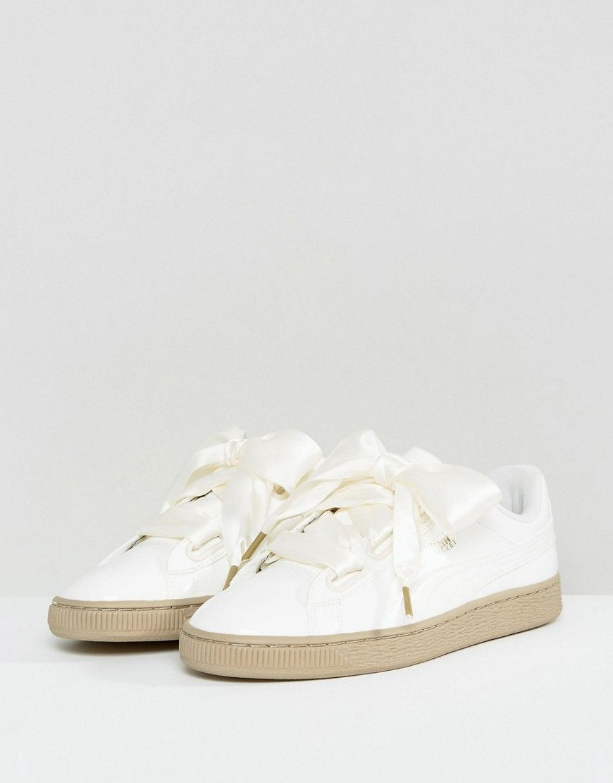 Puma Basket Heart Sneakers In Patent Marshmallow - Cream  fa125c852