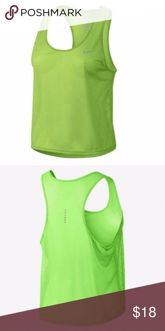EUC Nike Run Fast Running Tank in Voltage Green
