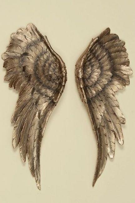 wand deko engelsfl gel 2 st ck kunstharz kupfer gold farben hanging angel wings for your. Black Bedroom Furniture Sets. Home Design Ideas