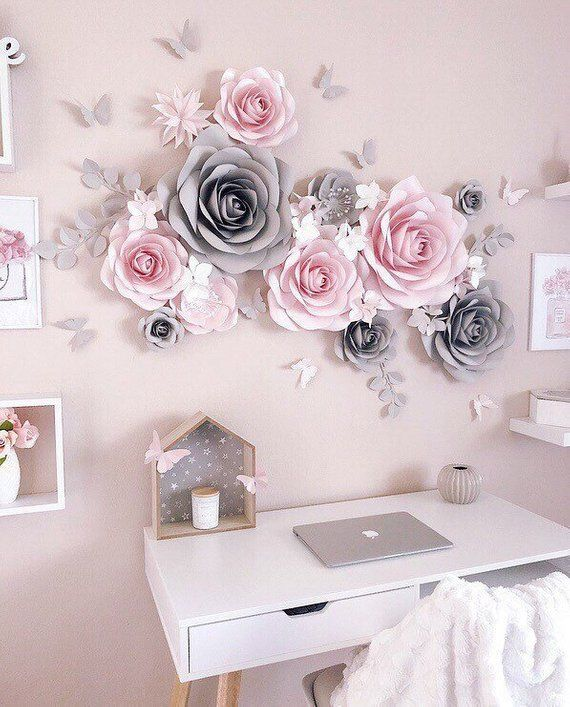 Nursery Paper Flower - Nursery Wall Decor - Paper Flowers Wall Decor - Paper Flower Decor - Large Paper Flowers - Blush Pink And Gray Decor #paperflowerswedding