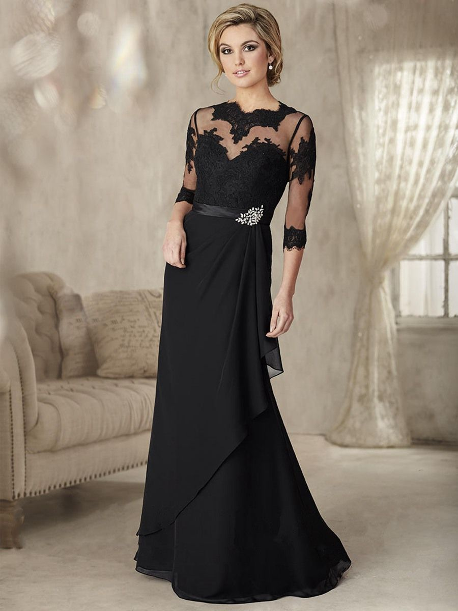Long black illusion neckline lace and chiffon mother of the bride