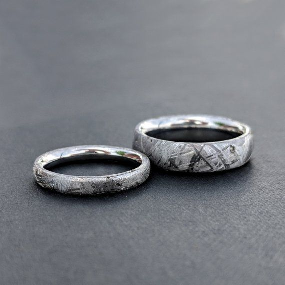 Wedding Ring Set Meteorite Ring Usa Made Custom Artisan Etsy Wedding Ring Sets Meteorite Ring Jewelry Wedding Rings