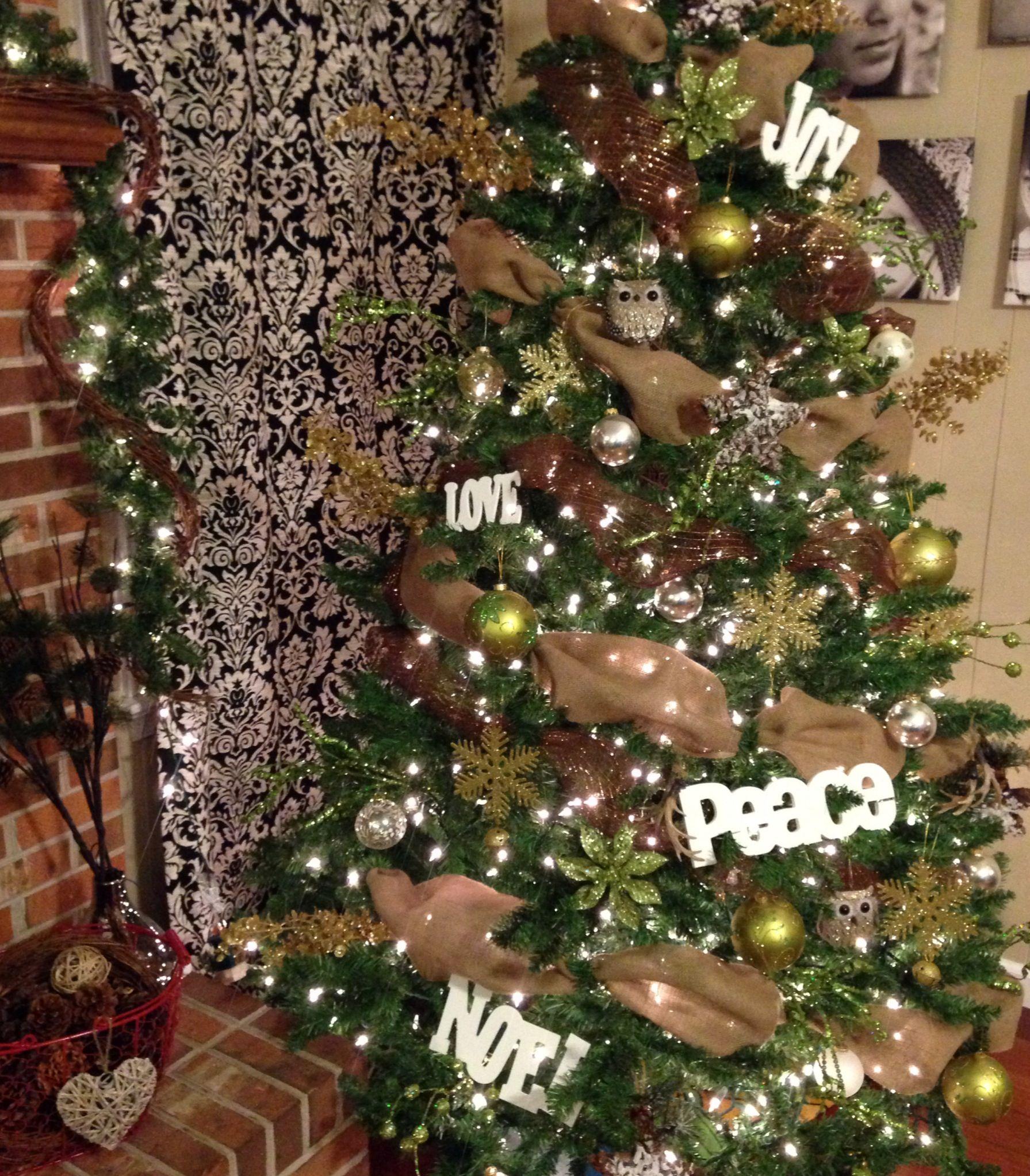 Rustic christmas tree brown gold green burlap for Green and gold christmas tree