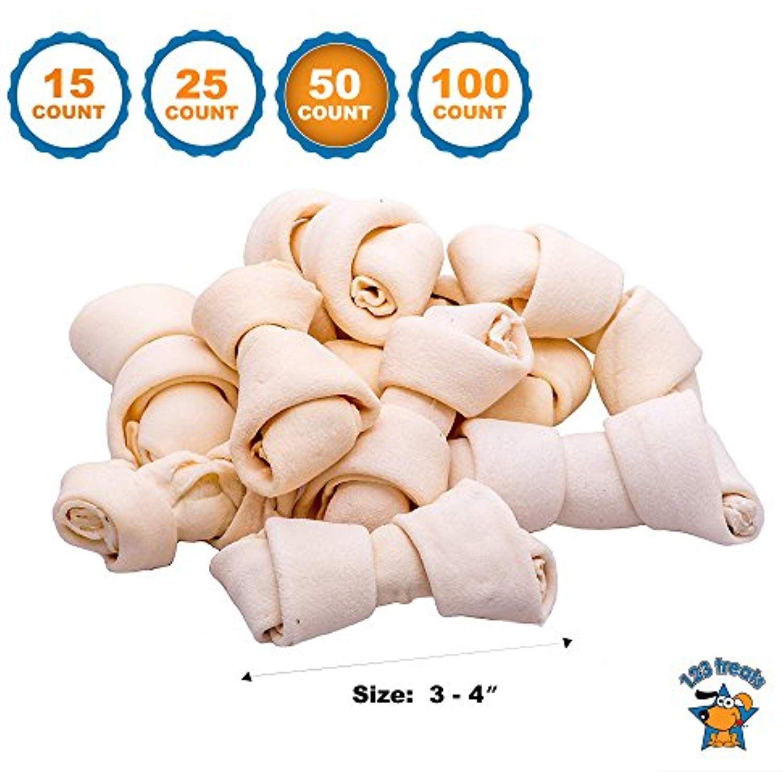 123 Treats Rawhide Bones Chews 3 4 50 Count Premium Rawhide