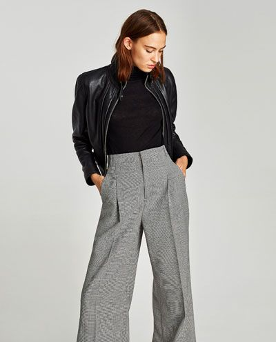 Pantalon Ancho Cuadros Ultima Semana Mujer Zara Espana Fashion Wide Leg Trousers Trousers Women