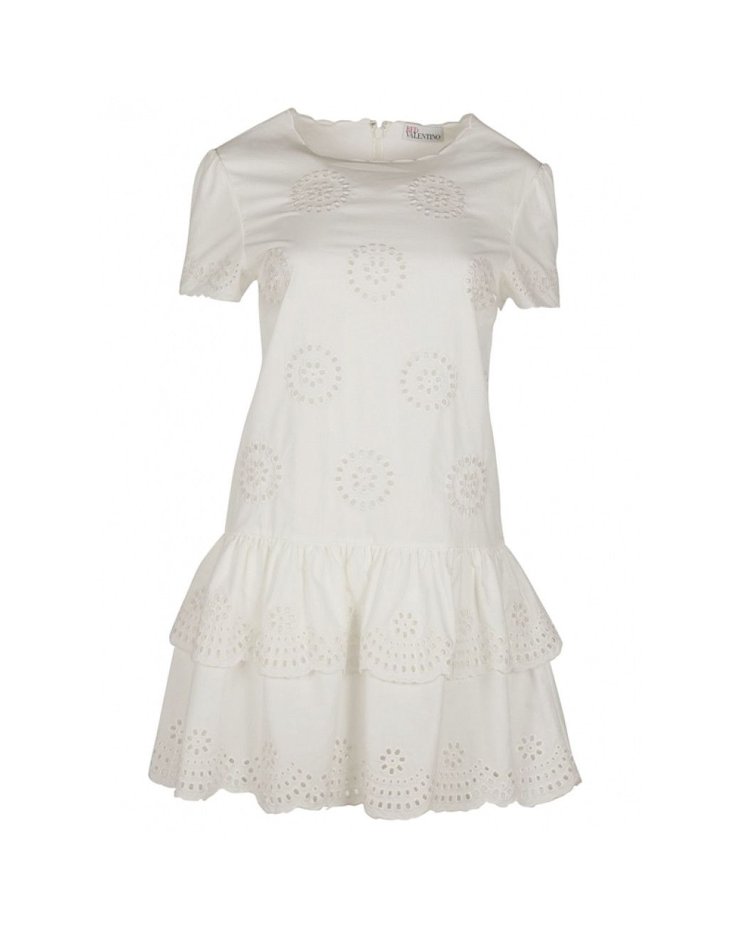 94d443e1f2c2 RED Valentino | White Embroidery Broderie Anglaise Dress | Lyst ...