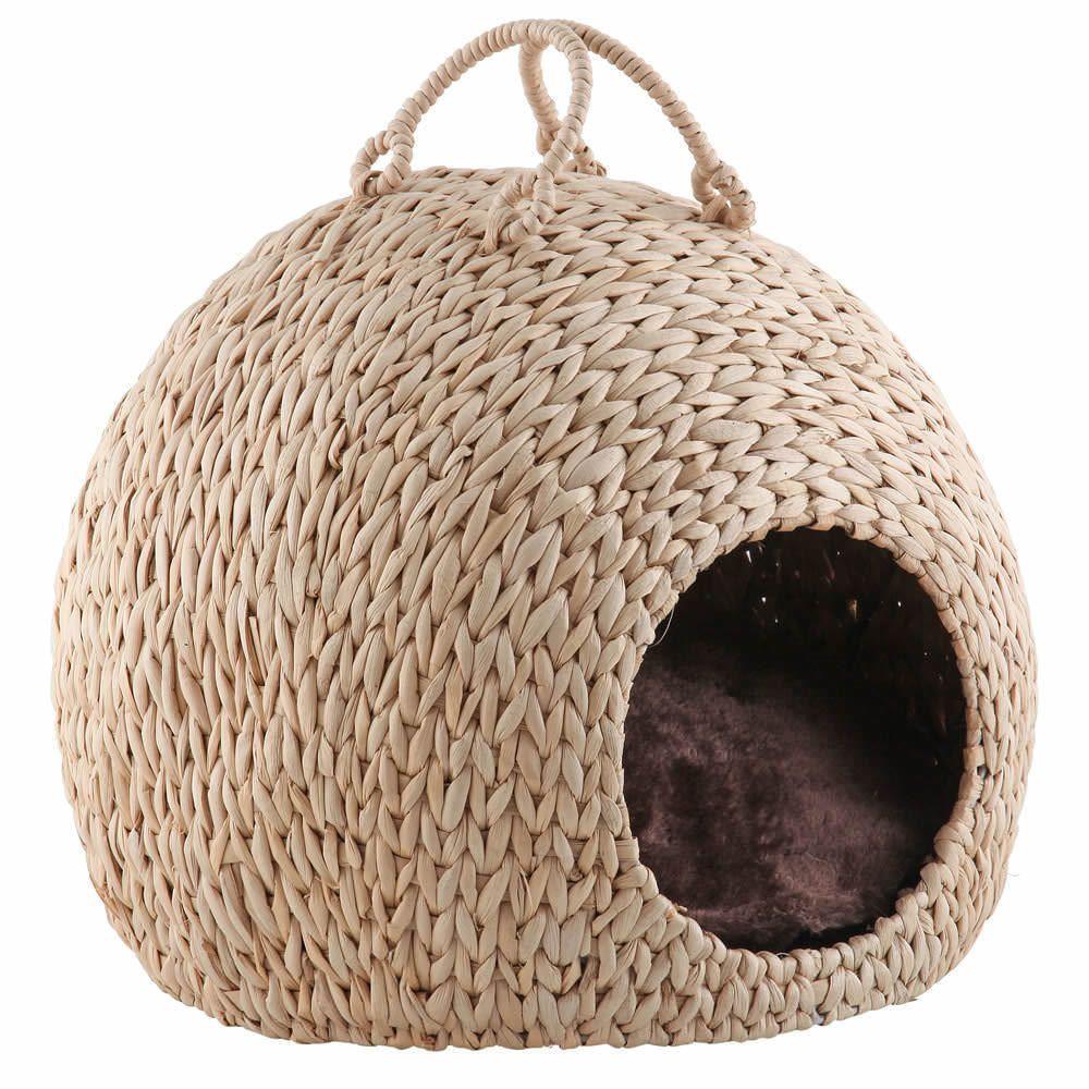 Wicker Cat Kitten Bed Basket Pet Sleeping House Pod Cave