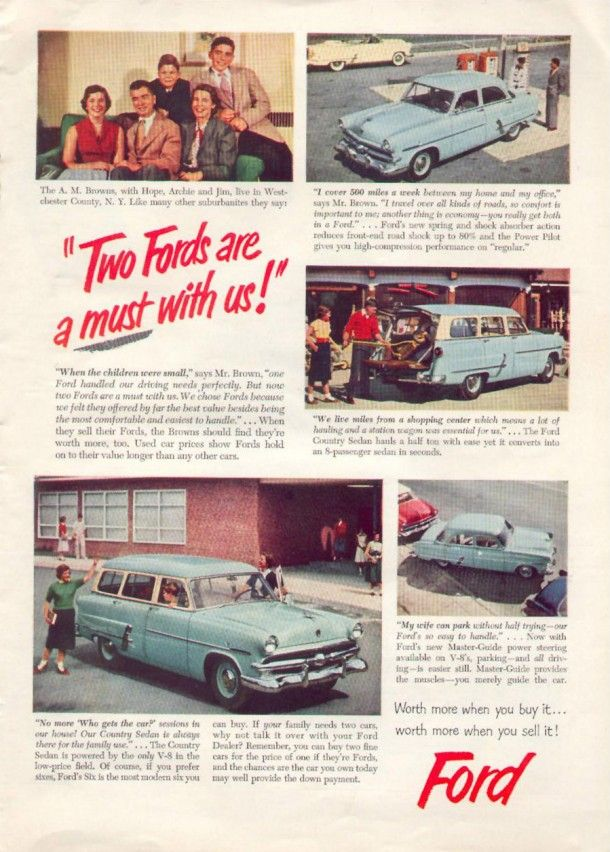 Two Fords are a must with us!, 1953 | Amerikan reklamı | Pinterest ...