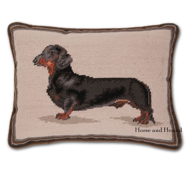 Dachshund Needlepoint Pillow Full Portrait Of Black And Tan