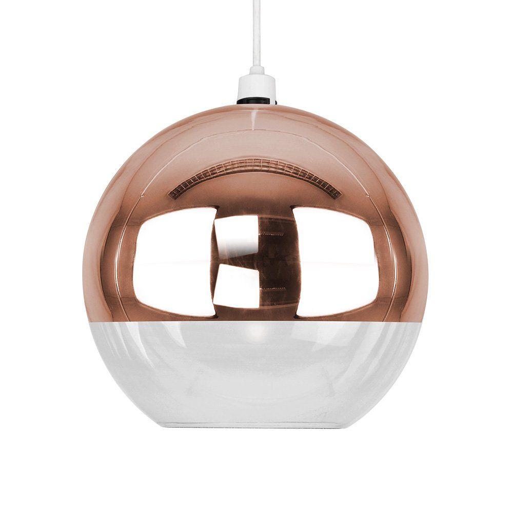 Modern Copper Effect Clear Gl Ball Ceiling Pendant Light Shade Co Uk Lighting