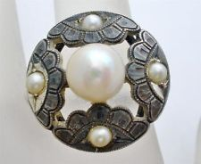 Antique 950 Pearl Ring Sterling Silver Engraved Cultured Signed CPO NSS