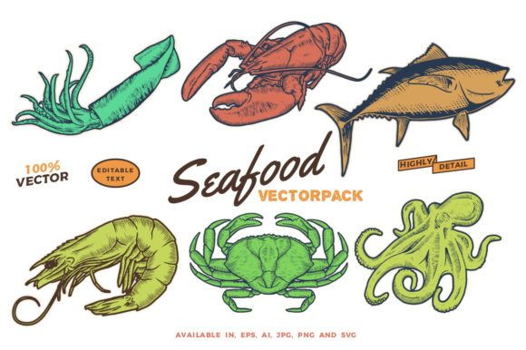 Awesome Seafood Vectorpack Graphic (Graphic) by BOLDgraphic · Creative Fabrica