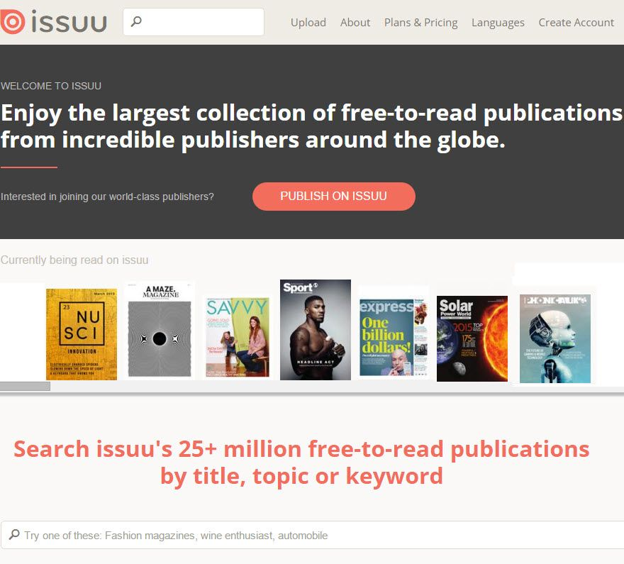 issuu is a website that allows users to upload a pdf and generate a