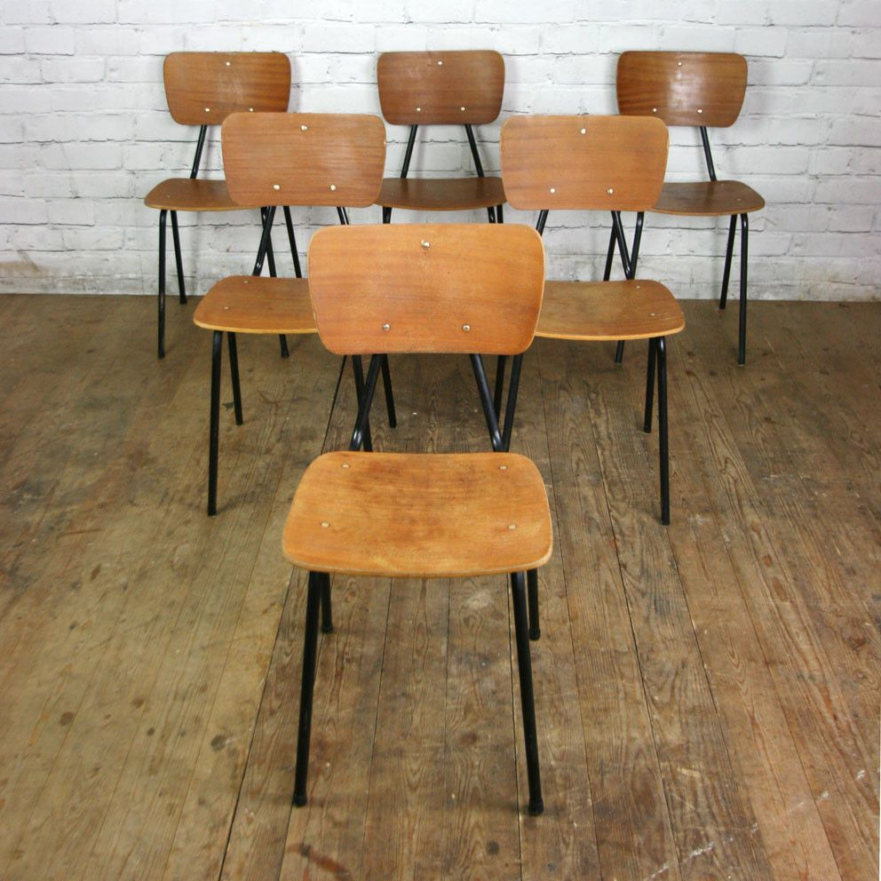 6 Vintage French Industrial School Stacking Chairs #frenchindustrial