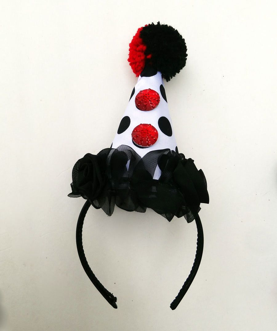 Clown Hat Circus Costume Red Hearts Black And White Polka Dot