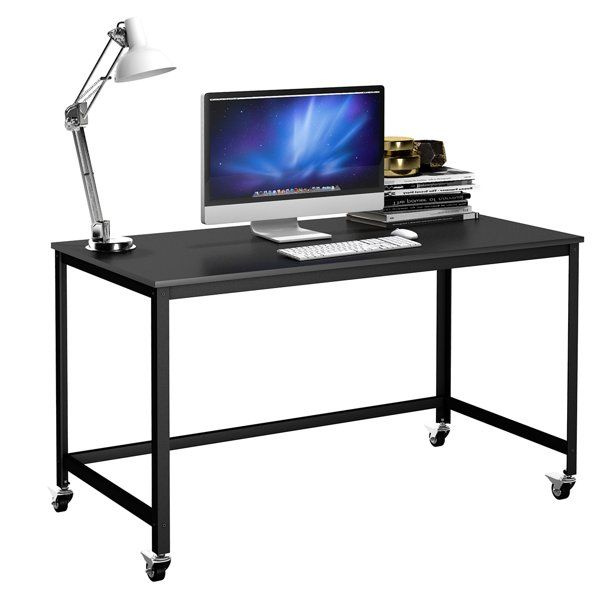 Costway Rolling Computer Desk Wood Top Metal Frame Laptop Table Study Workstation Black Walmart Com In 2020 Desk Metal Frame Metal Desks Modern Computer Desk