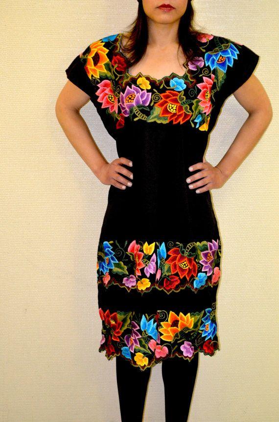 854c089e44e52 Mexican Embroidered Dress   Huipil   from Yucatan by Vtgantiques Bordados  Mexicanos