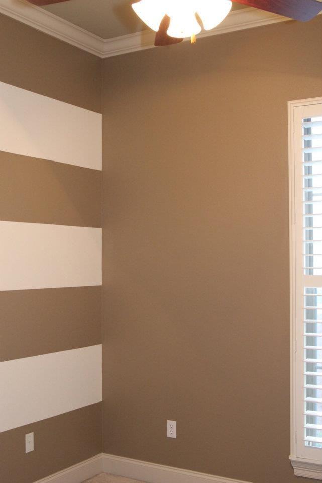 Grey And Orange Striped Wall Paredes Pintadas Com Listras
