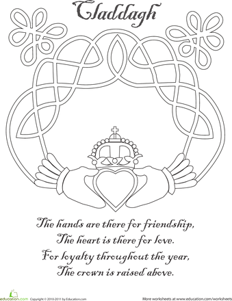 Claddagh Worksheet Education Com Celtic Coloring Irish Symbols Celtic Symbols