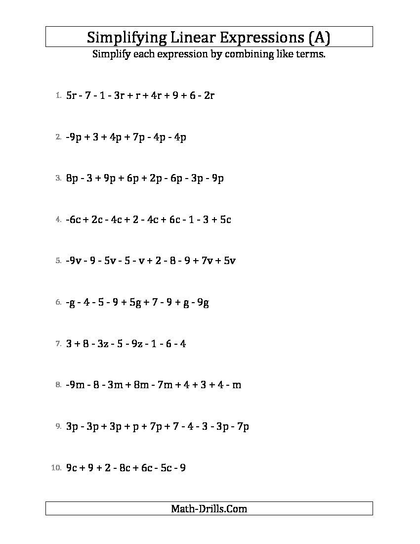 Simplifying Linear Expressions With 6 To 10 Terms A Algebra Worksheet Math Expressions Algebraic Expressions 10th Grade Math Worksheets