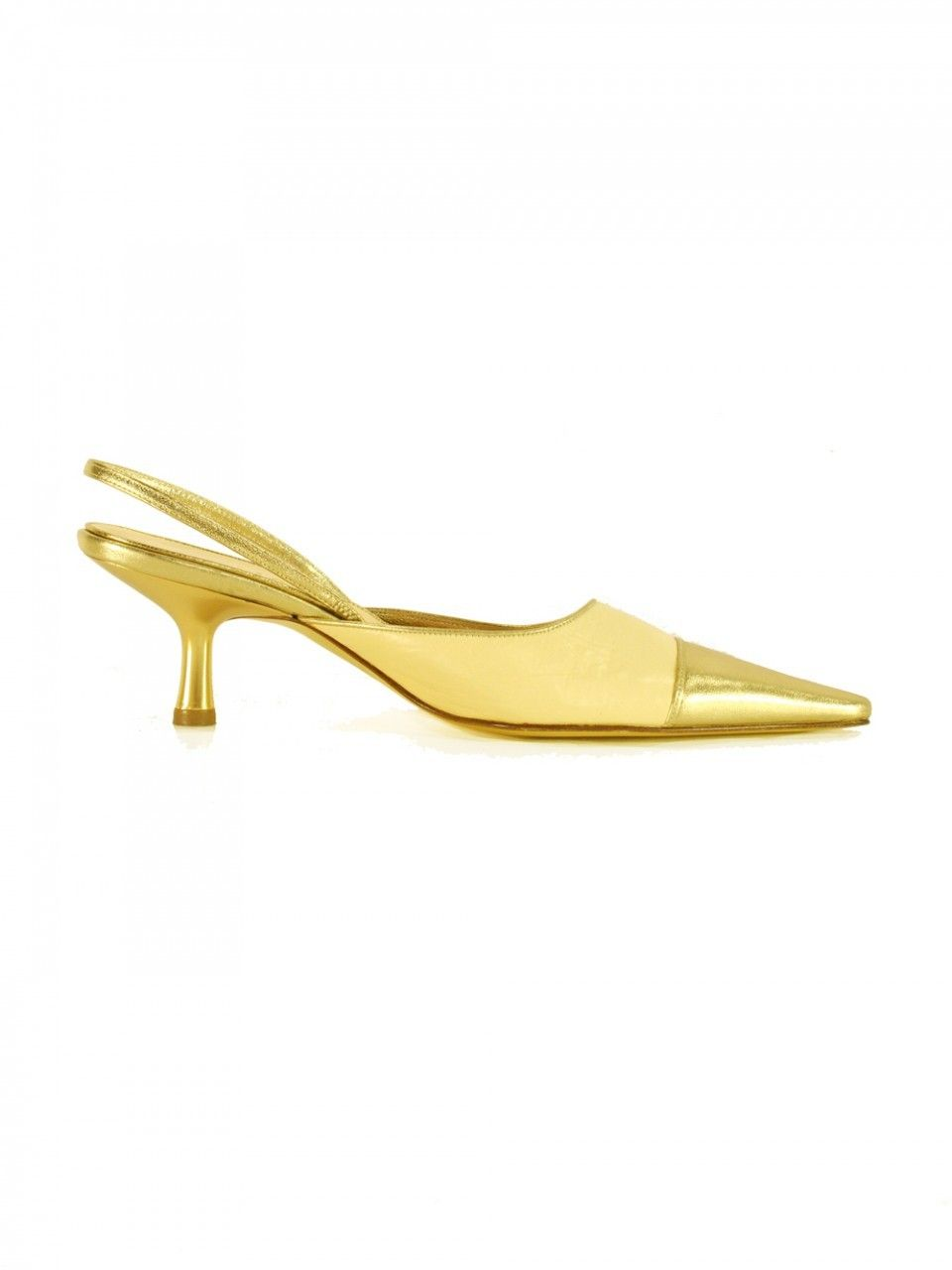 Chanel Gold and Creme Kitten Heel Slingbacks