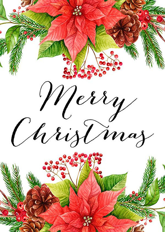 Merry Christmas Card Quote Prints Flowers Christmas Floral Postcards