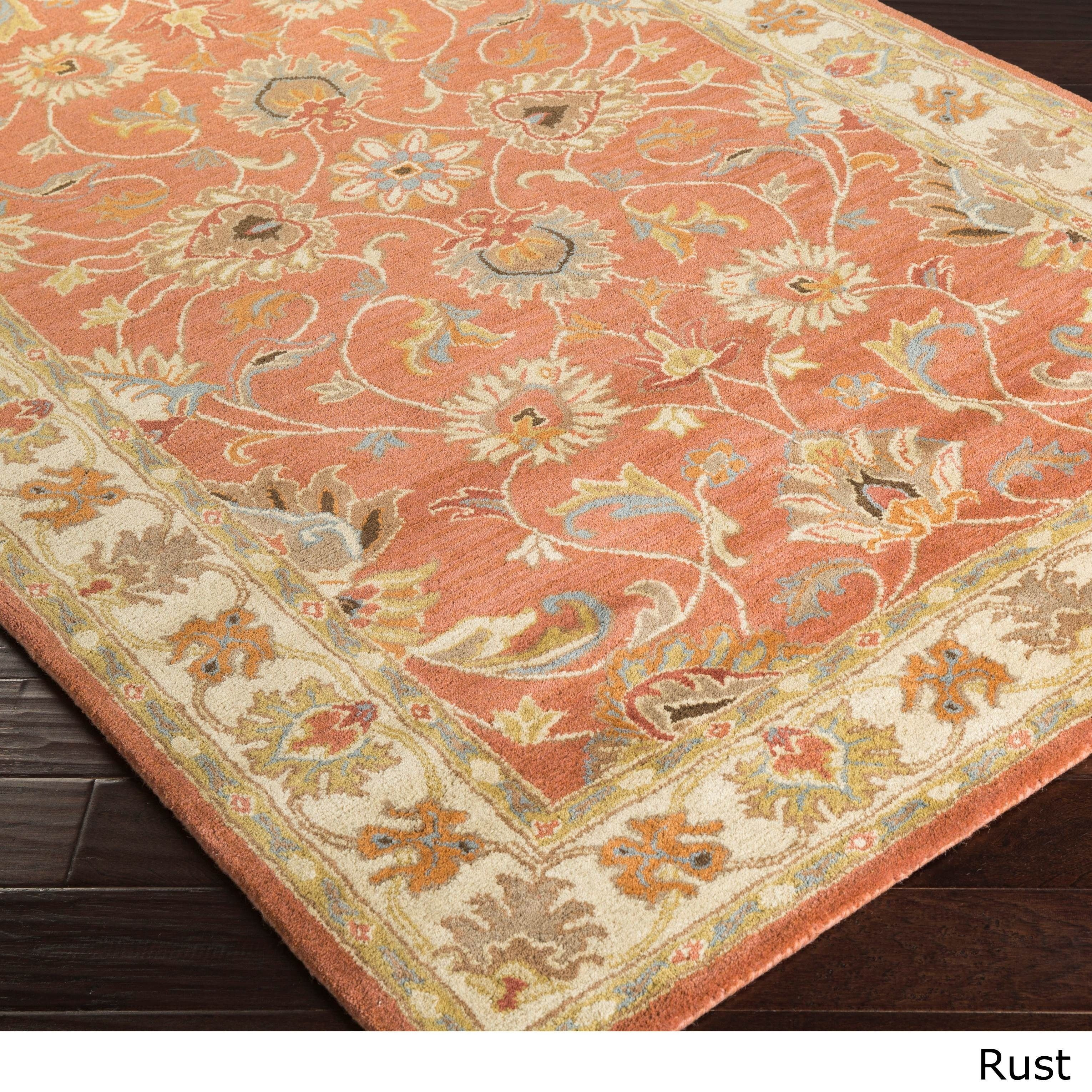 Hand Tufted Traditional Wool Rug 9 X 12 Rust 9 X 12 Red