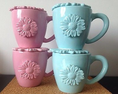 8 Piece Starbucks Mugs Flowers w/ Lids Blue & Pink Rare Daisy Floral Collectible