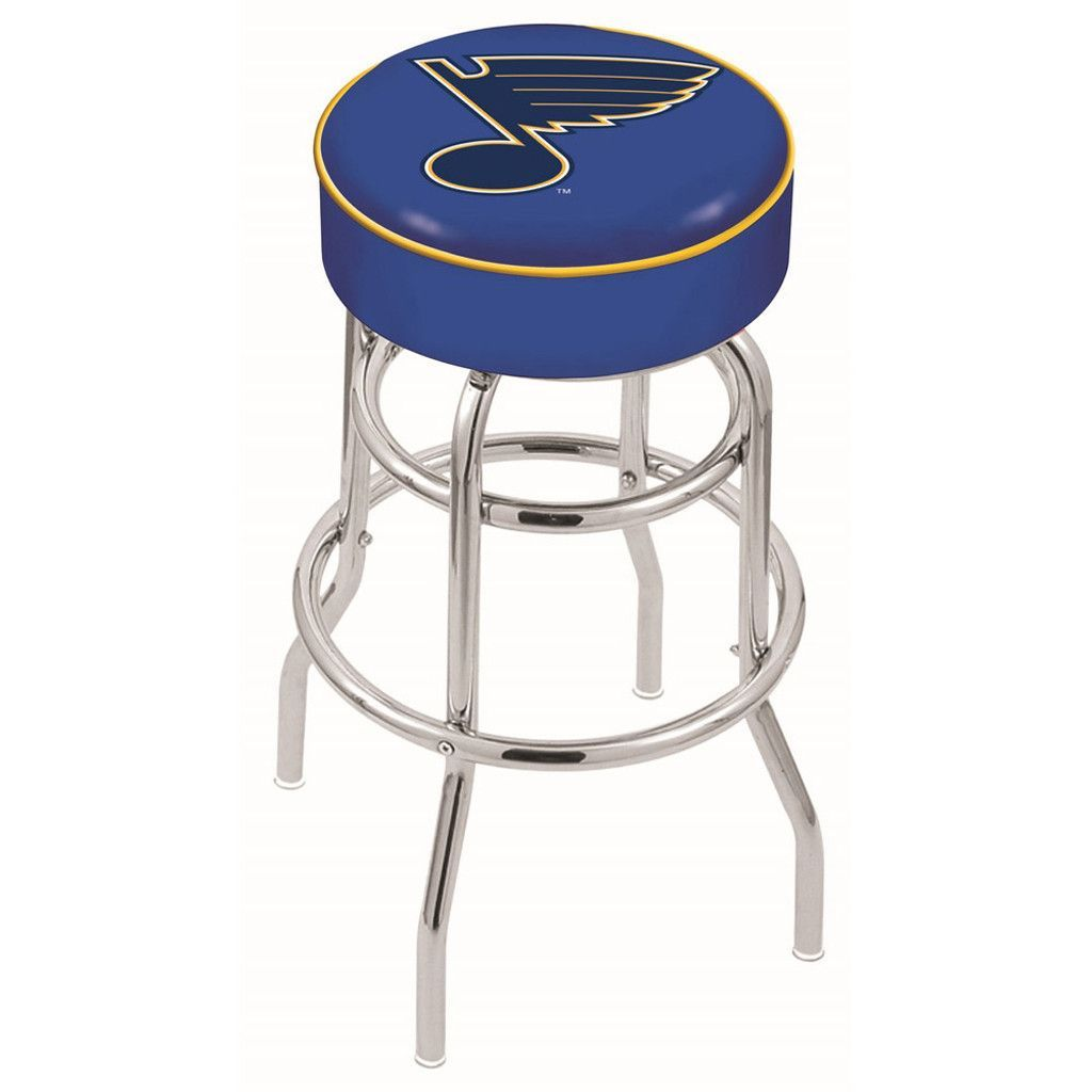 St. Louis Blues Double Ring Chrome Swivel Bar Stool Bar
