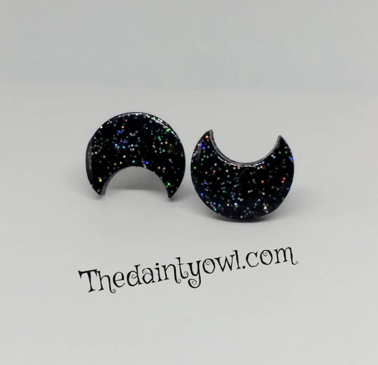 Earrings silver half moon black sequin