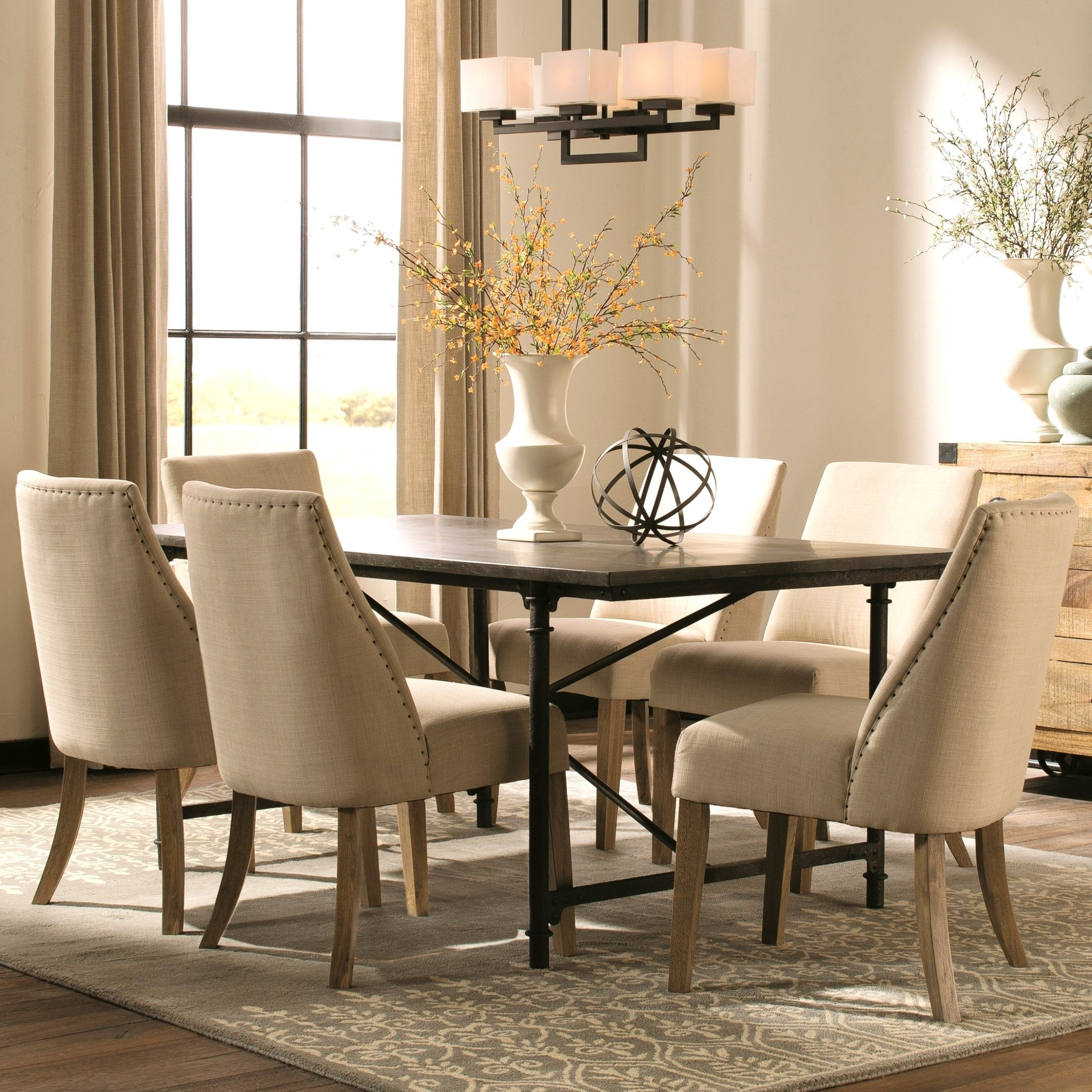 Modern Vintage Industrial Style Natural Blue Stone And Metal Dining Set 1 Table 4 Chairs Beige Size 5 Piece Sets