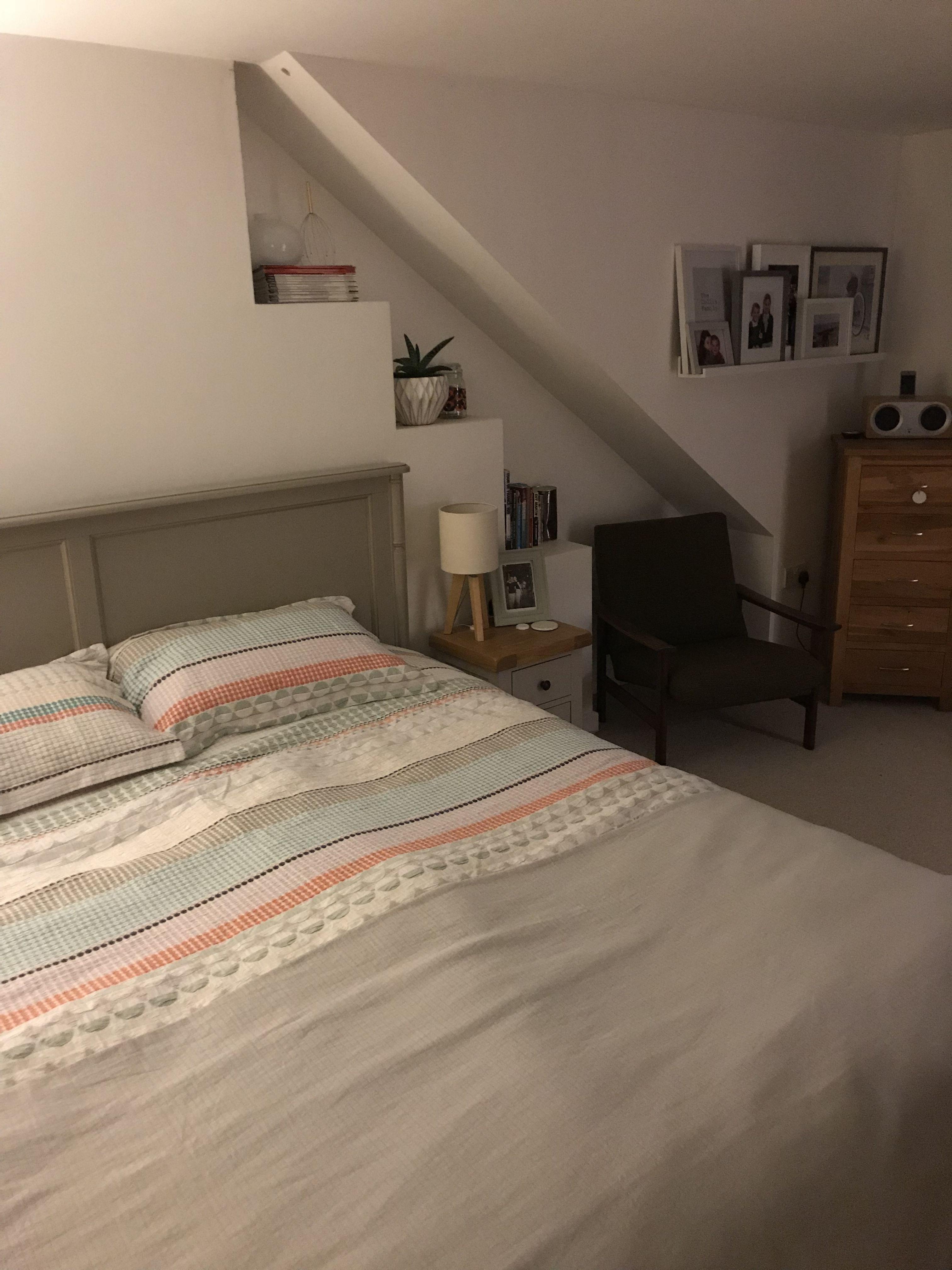 Loft extension bedroom ideas. Habitat duvet cover. Grey