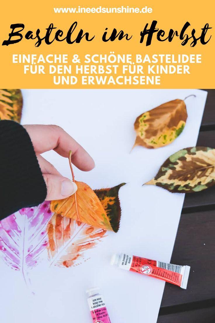 Herbstblätter bemalen: Einfaches Basteln im Herbst mit Kindern #herbstbastelnmitkindern
