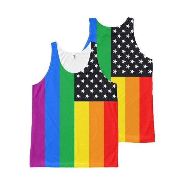 Gay American Flag - 6 colors black.png All-over Print Tank Top ($39) ❤ liked on Polyvore featuring tops, american flag top, american flag tank, usa flag tank top, american flag singlet y all over print tank top