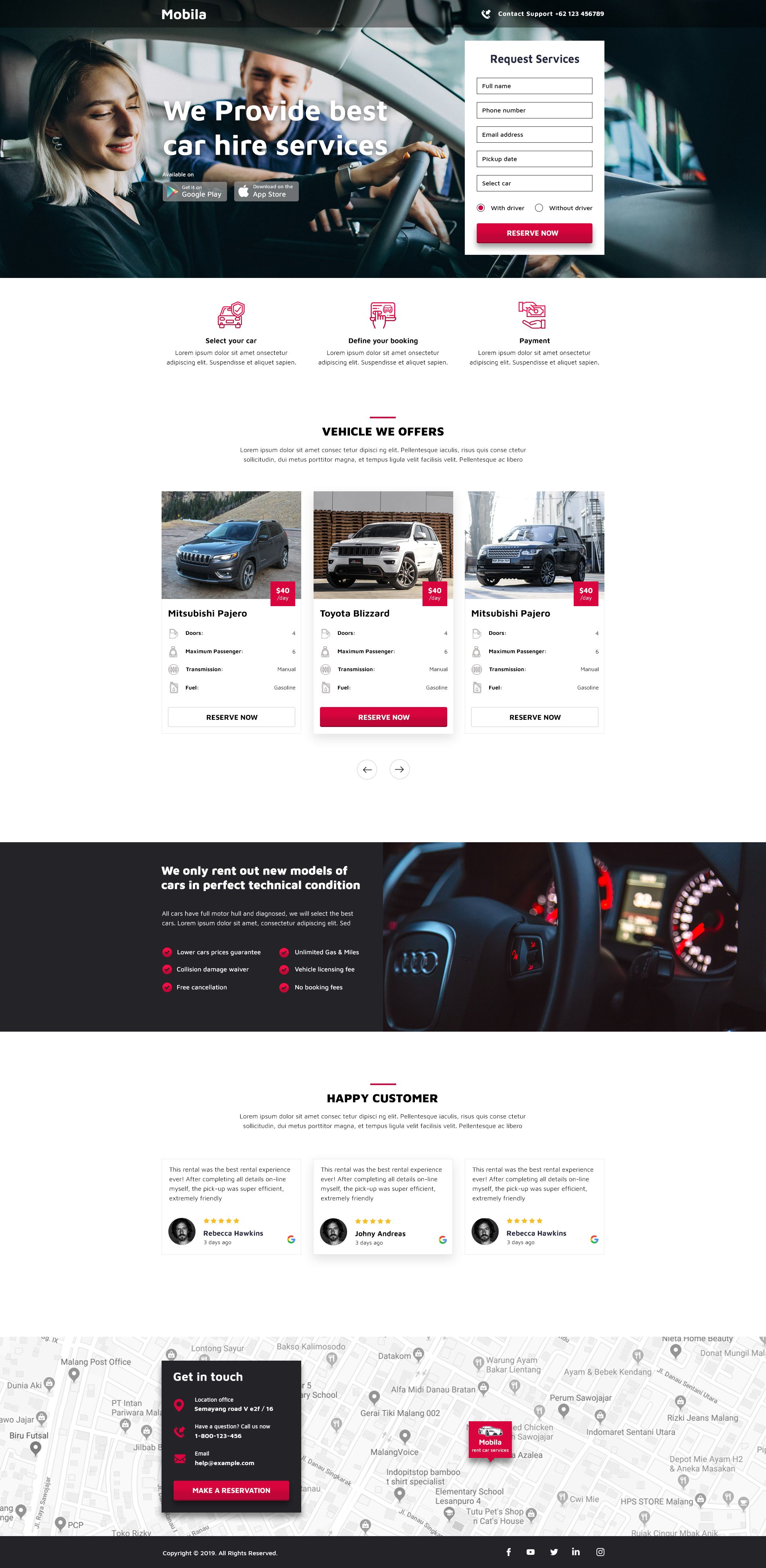 Rent Car Service Website Layout Template Web Design Website Layout