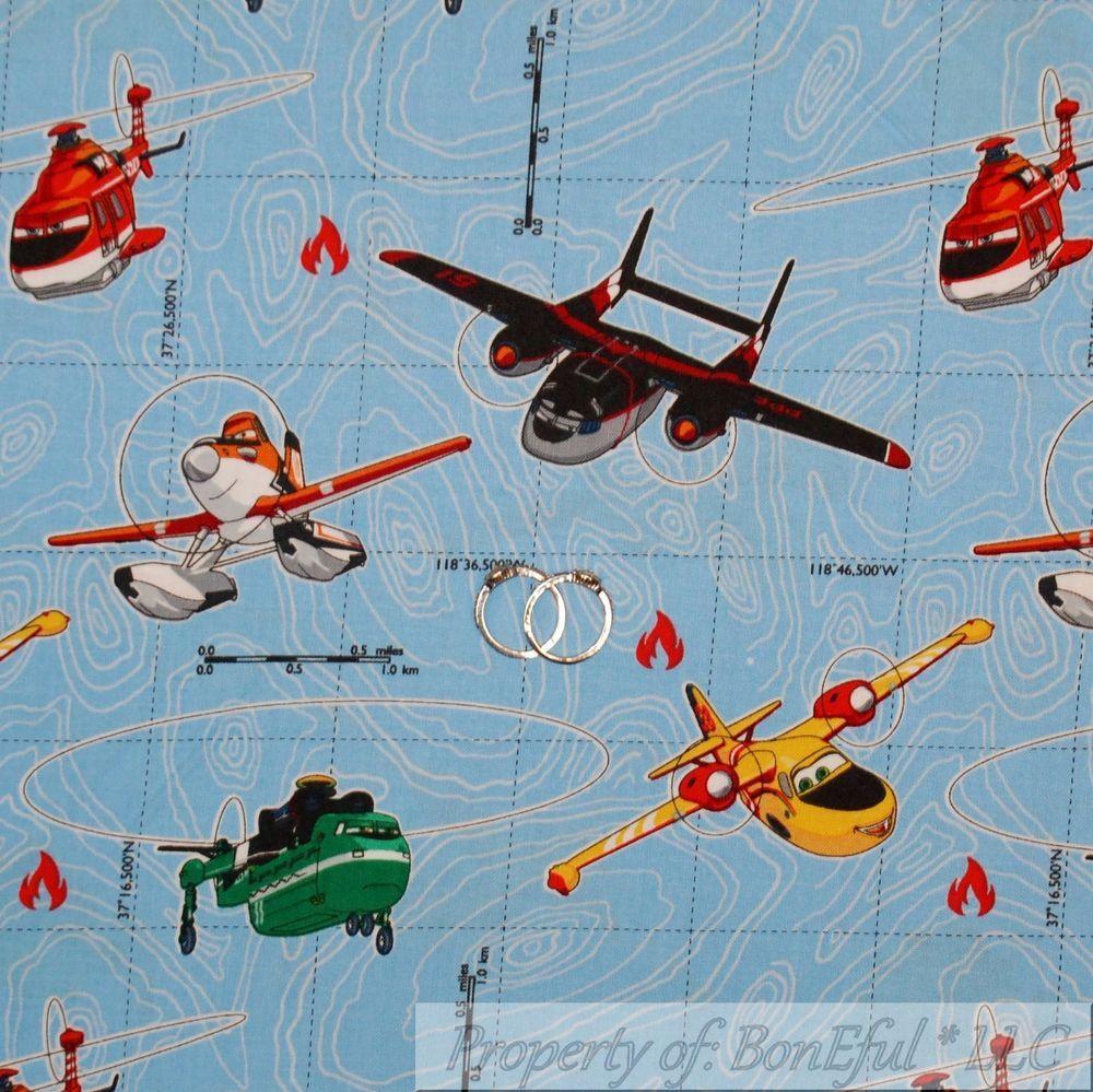 BonEful FABRIC Cotton Quilt VTG Disney Planes Airplane Movie Sea ...
