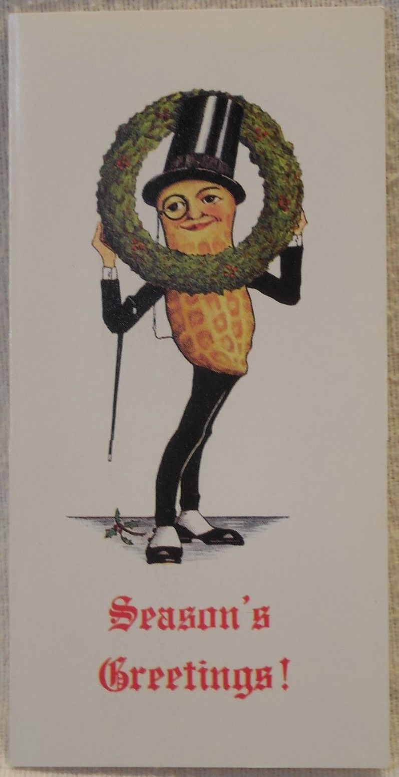 Christmas Planters Peanuts.Mr Peanut Greeting Card Christmas Planters Peanuts
